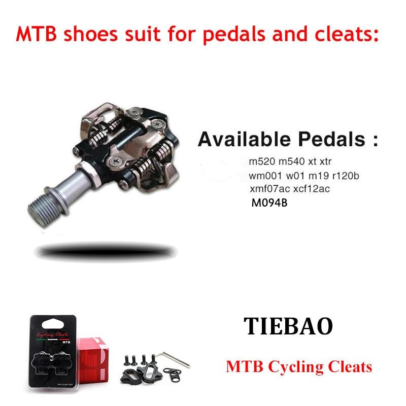 Купить с кэшбэком Tiebao MTB Cycling Shoes add SPD pedal set Men sneakers Women Self-Locking Mountain Bike Shoes Breathable Pedals Riding Sneakers