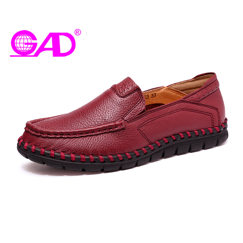 GAD Genuine Leather Women Moccasin Loafers Fashion Round Toe Slip on Women Leather Casual Shoes Handmade Flat Shoes Women nayiduyun women genuine leather wedge high heel pumps platform creepers round toe slip on casual shoes boots wedge sneakers