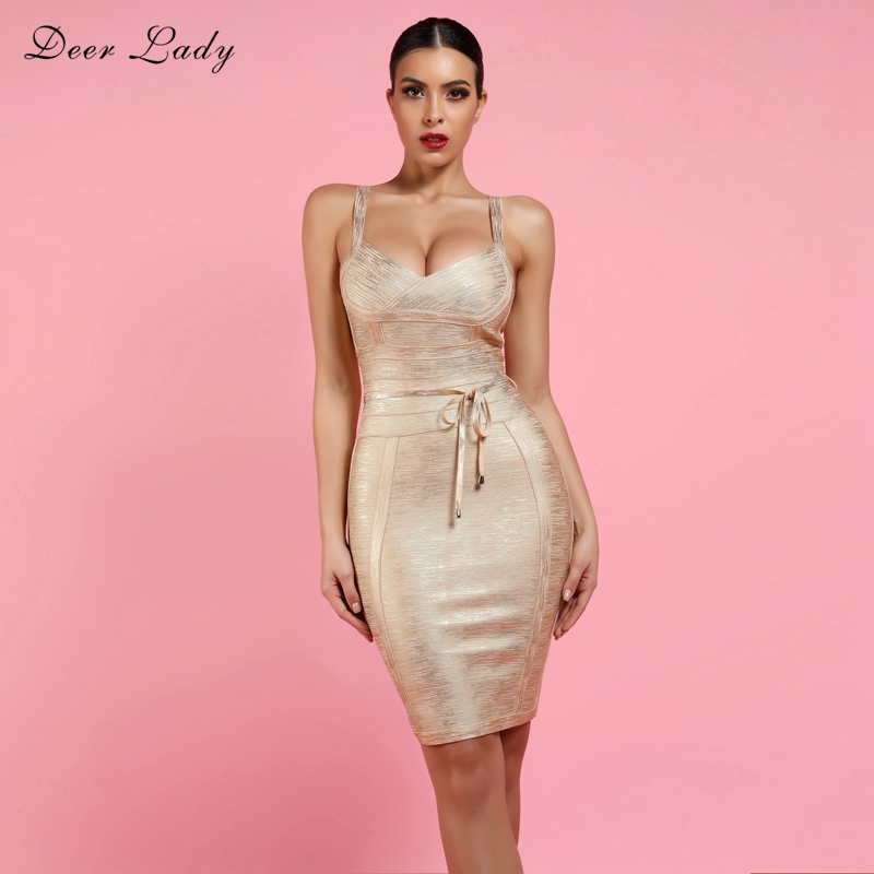 Deer Lady Bandage Dress 2019 New Arrivals Sexy Gold Bandage Dress For Women With Belt V Neck Bandage Dress Bodycon Clubwear