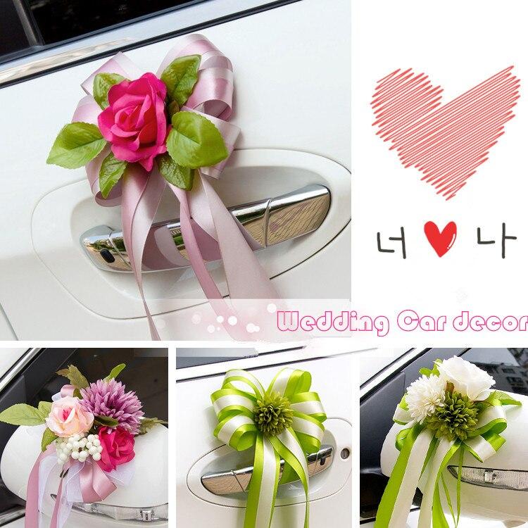 1st Wedding Anniversary Decoration Ideas At Home: Silk Rose+ribbon Bowknot Flower Car Wedding Decoration