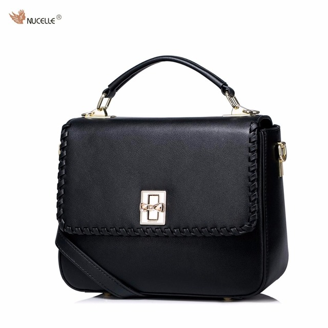 88b6446309 New NUCELLE Brand Design Women s Fashion Diamonds Lock Cow Leather Girls  Ladies Handbag Shoulder Crossbody Messenger Bags
