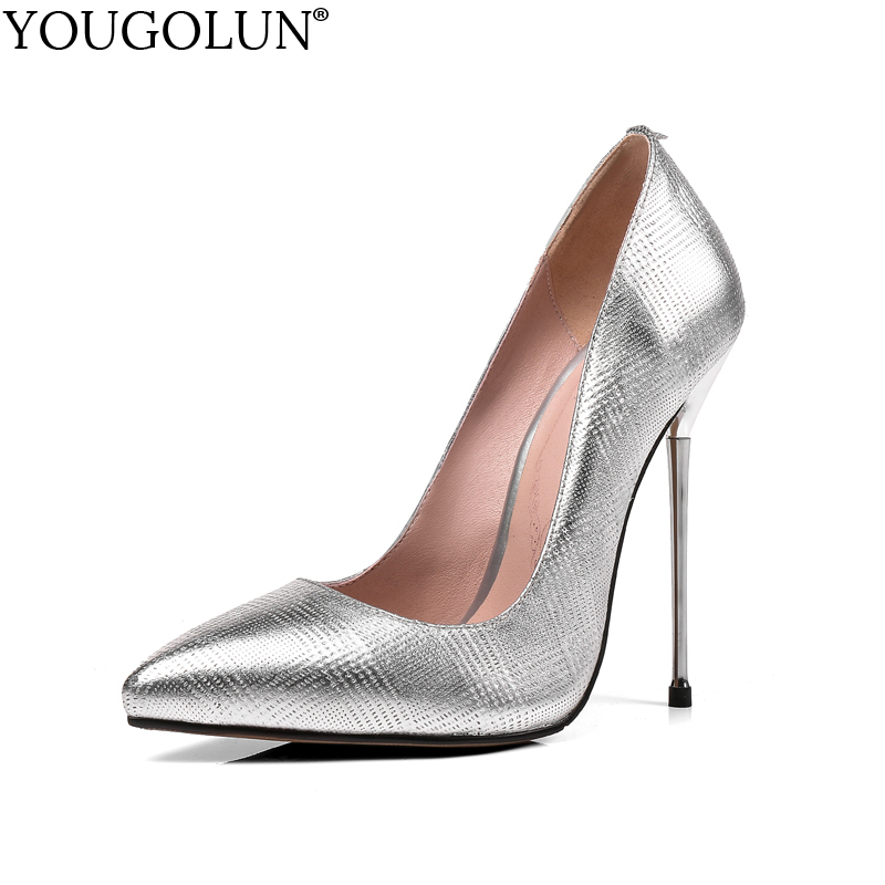 YOUGOLUN Women Pumps New Genuine Cow Leather Lady High Thin Heels 12.5 cm Elegant Woman Pointed toe Silver Party Shoes #A-091 creativesugar elegant pointed toe woman