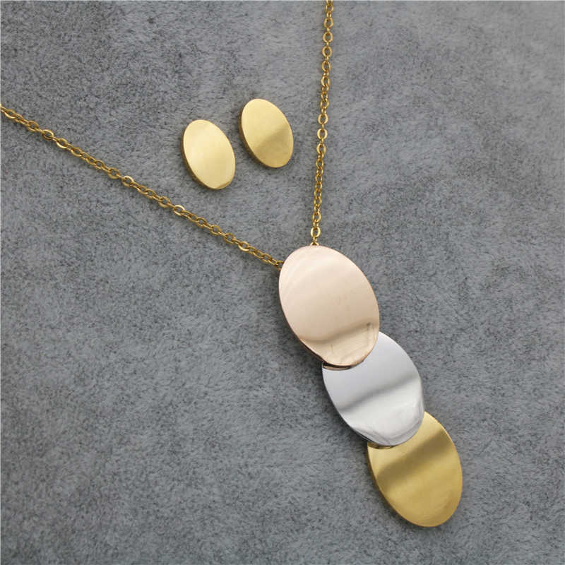 PZ Trendy Stainless Steel Three-Color Pendant Necklace Earrings Jewelry Sets for Women Wholesale