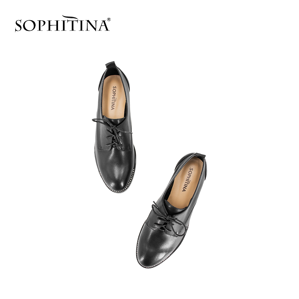 SOPHITINA Brand Lady Casual Pumps Sheepskin Round Toe Low Square Heels Slip On Pumps High Quality