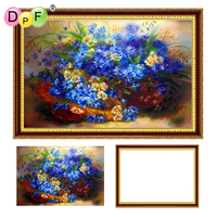 DPF 5D Diamond Embroidery Blue Chrysanthemum With Frame Diamond Painting Cross Stitch Full Round Diamond Mosaic