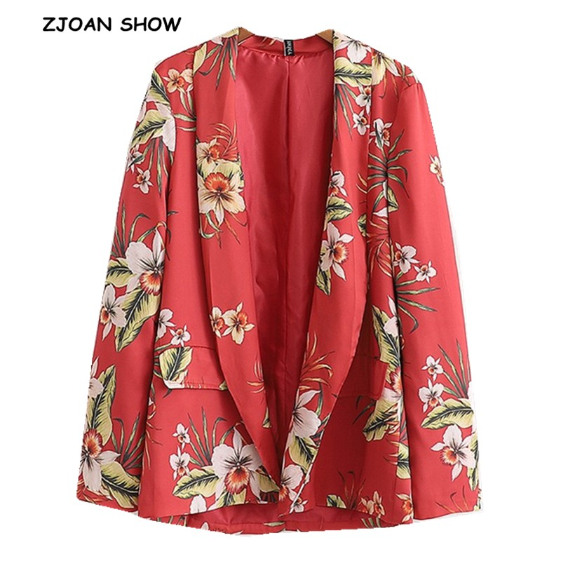 Retro Red Print Flower Blazer 2019 Spring Woman Shawl Collar Double Pockets Slim Fit Mid Long Suit Casual Jacket Coat Outerwear