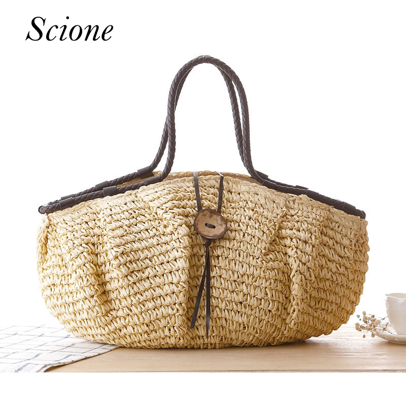Handmade Straw Bag Bohemian Summer Beach Tote Handbag Women Causal Shopping Travel Bag Large Capacity Woven Shoulder Bags Bolsa wegogo women handbag new thailand straw bag ladies travel holiday summer beach bohemian boho weaving woven straw tote bag