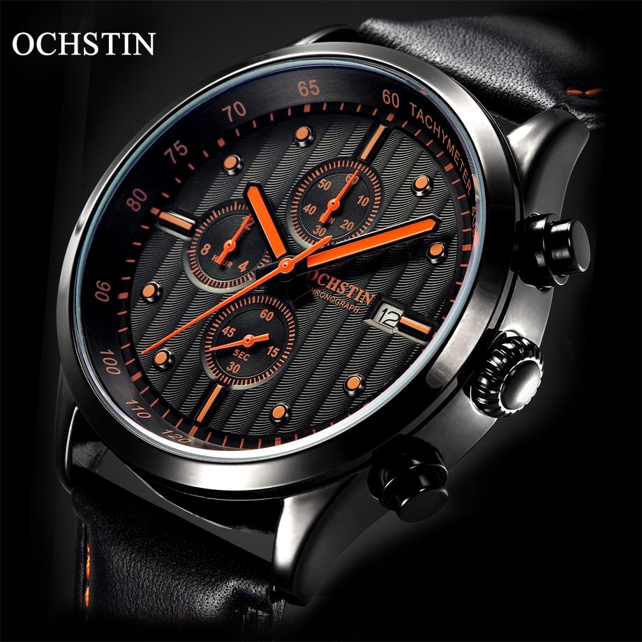 Prix pour Mode Casual Hommes de Chronographe Montre Top Marque De Luxe Mâle Étanche Sport Quartz En Cuir Montres Hommes Horloge montre homme
