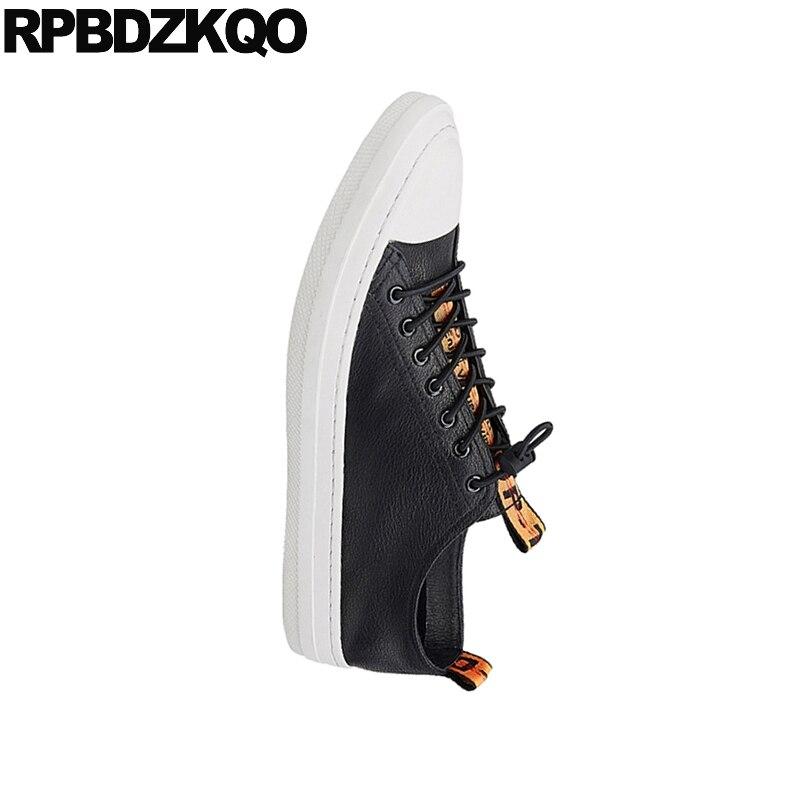 9072263186 Homens Couro Real Moda Marca Rendas Até Skate Preto Branco Genuíno Itália  Primavera Tênis Sapatos E ...