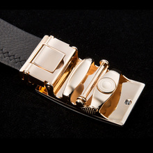 Automatic Buckle Black Leather Belt