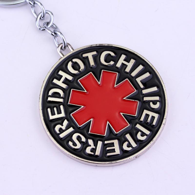 Venda quente Chaveiro New Hot Banda de Música da Banda de Rock Red Hot Chili Peppers Vermelho Logo Metal Keychain dos homens das mulheres dom titular da chave para carros