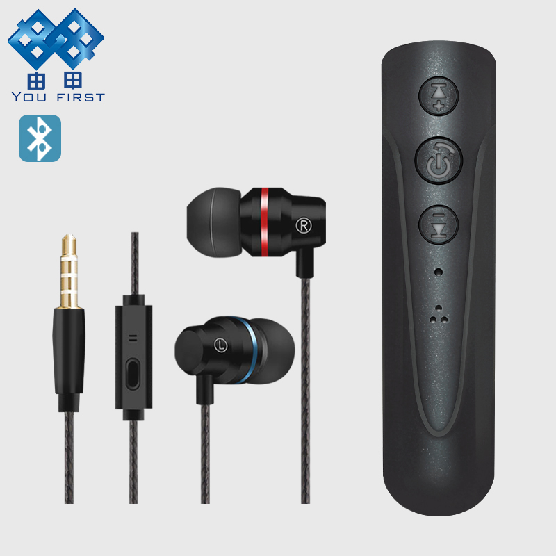 YOU FIRST Wireless Earphones With Microphone Bluetooth Earphone Sport Wired In Ear 3.5mm Headset For Mobile Phone iPhone 6 7 8 magift bluetooth headphones wireless wired headset with microphone for sports mobile phone laptop free russia local delivery hot