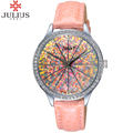 new women's Watch dress luxury Korea watches women best rhinestone lether watch Fashion casual Quartz wristwatch Julius clock