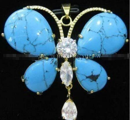 """Venta caliente nuevo Estilo>>>>> Azul turquesa de la cadena de cristal Colgante de collar de 18"""""""