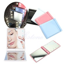 Lady Makeup Mirror 8 LED Lights Lamps Cosmetic Folding Portable Compact Pocket Mirror 4Colors