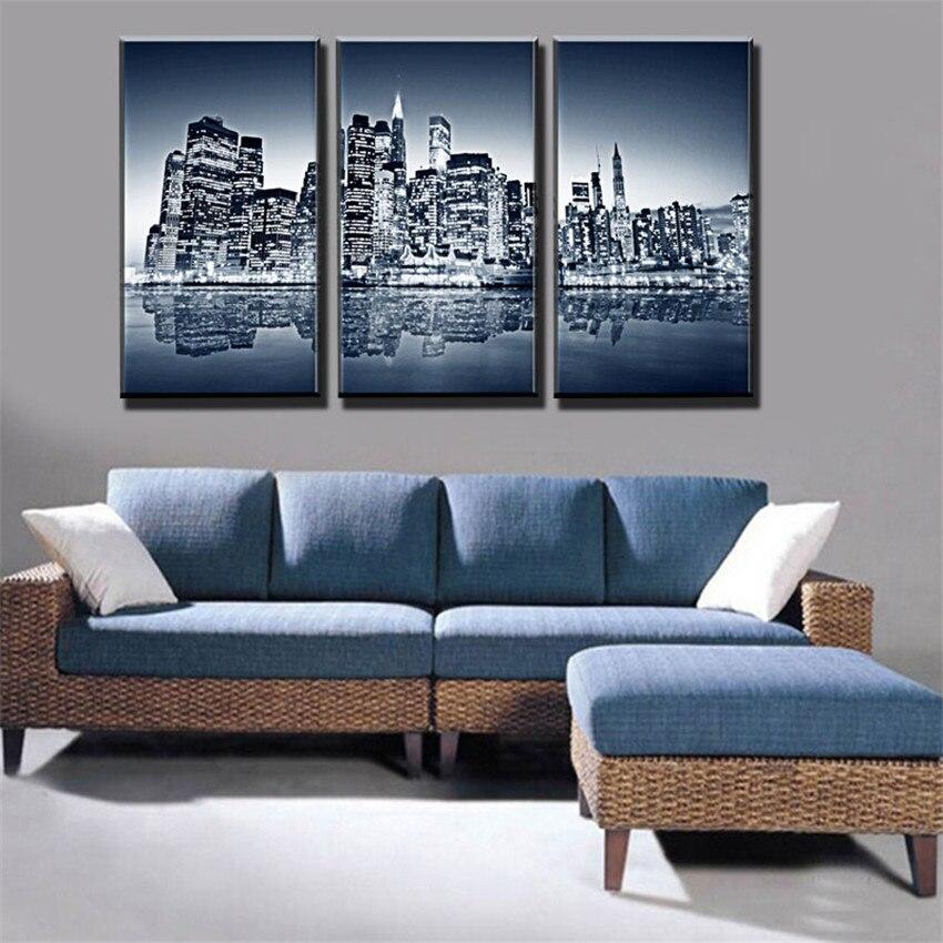 3 Panels Coastal Cities Painting Big Canvas Painting Wall Art Black Picture  Landscape Cuadros De Lienzo