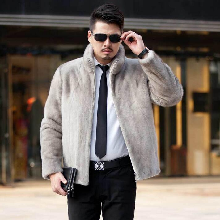 Winter autumn thicken thermal marten fur leather jackets men casual mens cotton-padded coats imitation mink fur outerwear