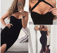 2018 Yaz Elbise Asılı Boyun Yarıklar Geri Exposed Seksi Gece Kulübü Elbise Paketi Kalça Kız