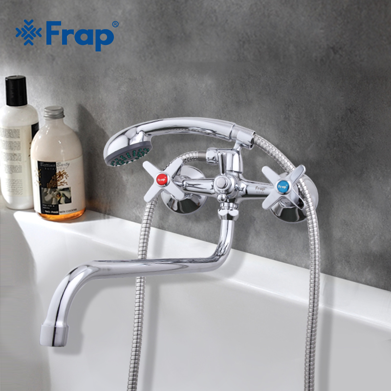 Frap Bathroom Faucet Long Water Outlet Tube 90 Degrees Mixer Tap Bathtub Faucet Wall Mounted Held Shower Set Hot And Cold Water