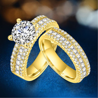 18K Promise Engagement Double Rings For Couples Men Women Yellow Gold Color Pairs Wedding Ring Set