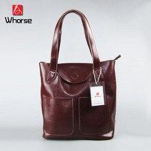 WHORSE Hot Cowhide Handbags Big Tote Brand Vintage Women Handbag Genuine Leather Women s Shoulder