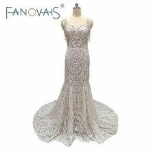 Lace Mermaid Wedding Dresses Spaghetti Pearls Luxury Wedding Gowns robe de mariee Vestido de novia 2017 Lace Boho Bridal Gowns