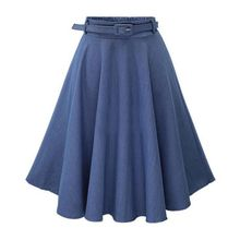 Women Spring Autumn Casual Skirt High Waist Mid-length Denim Slim Thin A-line Fashion Wild
