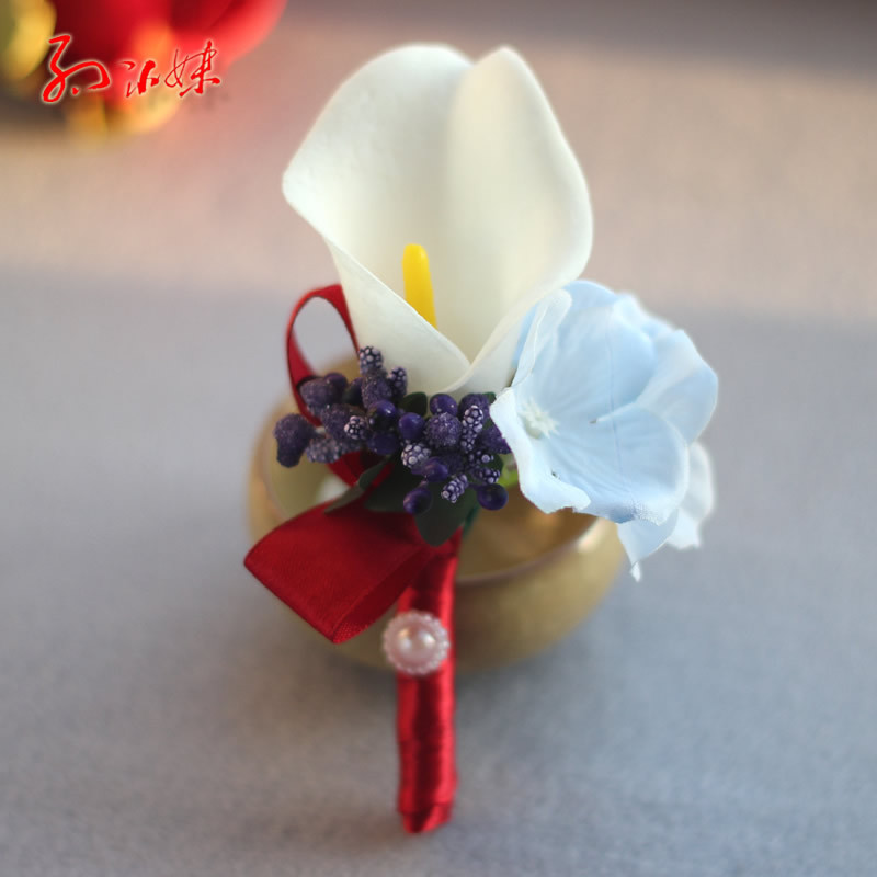 Fashion High quality real touch calla lilies corsages prom Bride groom wedding boutonniere bridesmaid wrist corsage FW178