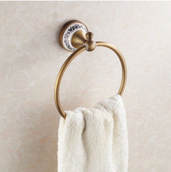 New Arrivals Luxury Brass Antique Towel Ring with Ceramic Base Towel Holder, Towel Bar Bathroom Accessories apl 6411 12 bathroom classic brass paper holder towel ring with lotus carving base bronze