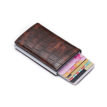 Bycobecy New Men Casual Wallet PU Leather RFID Vintage Aluminium Box Travel Card Fashion And Women Credit Holder