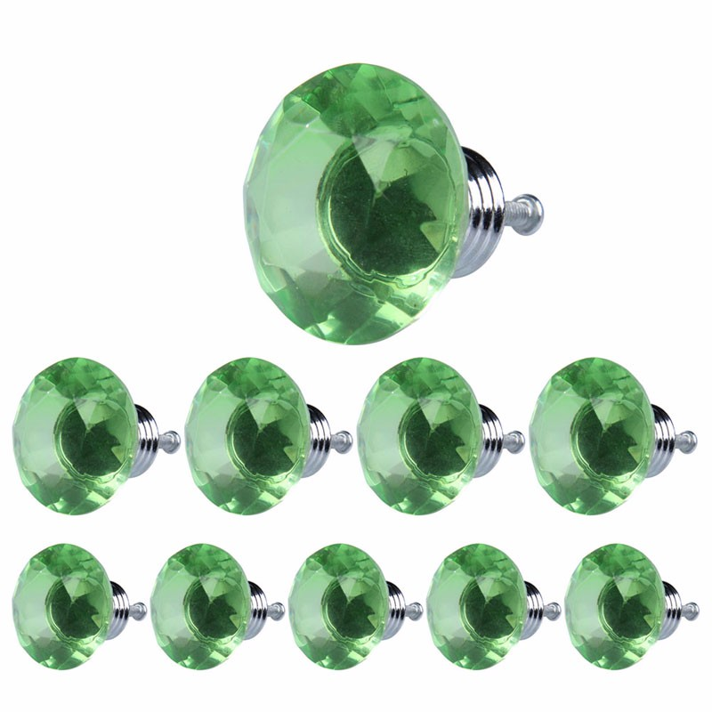 10 Pcs 40mm Diamond Crystal Glass Alloy Door Drawer Cabinet Wardrobe Pull Handle Knobs Cabinet Furniture Handle Knob Screw S1010 40mm diamond shape crystal glass door handle knob with screws for furniture drawer cabinet kitchen pull handle wardrobe