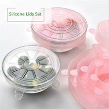 6pcs/Lot Universal Silicone Suction Lid-bowl Pan Cooking Pot Lid-silicon Stretch Lids Cover Spill Lid Stopper
