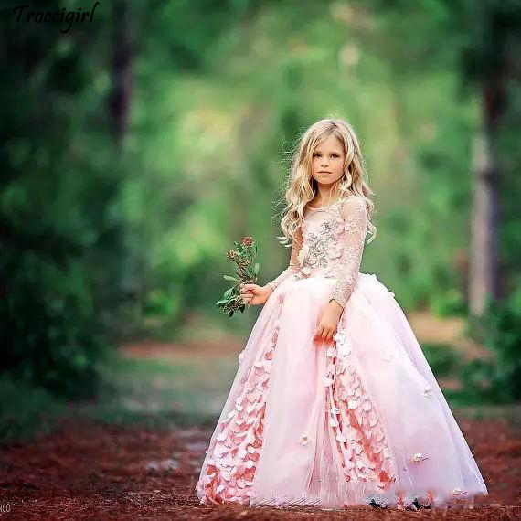 Lovely Vintage Girl Pageant Dresses Gorgeous Flower Girl Dresses For Wedding Lace Long Sleeve Applique Tulle Sweep Train Flower in Flower Girl Dresses from Weddings Events