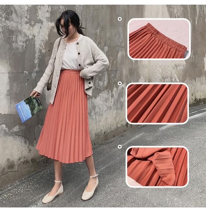 Surmiitro Elegant Solid Midi Pleated Skirt Women 19 Autumn Winter Ladies Korean High Waist A-line School Long Skirt Female 16
