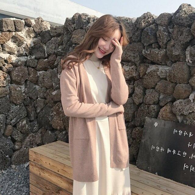 9fd3b8b566ce6 Korean Fashion Long Sleeve Retro Knitted Cardigan Female with Pocket Female  Simple Knit Sweater Cardigans Women Loose Jumper