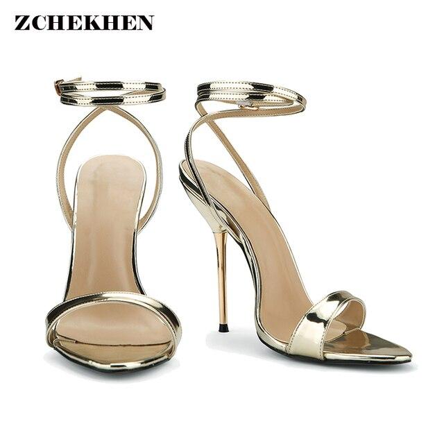 0d59aff0f72 New Design Women Sandals 2018 Fashion Cross-Strap metal High Heel Sexy Gold  Sliver Platform Wedding Party Shoes 3845-i2-G