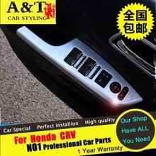 A&T For Honda CRV Window frame chrome trim car styling 2015 For CRV Interior Mouldings Armrest panel sequins stickers