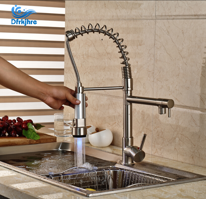все цены на Nickel Brushed With LED Kitchen Faucet Dual Sprayer Vessel Sink Mixer Tap
