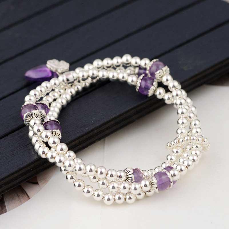 FNJ 925 серебряный браслет, украшенный бисером, цепочка с фиолетовыми кристаллами, очаровательные тайские S925 Серебряные Браслеты для женщин, ювелирные изделия - 5