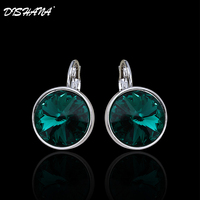New 2014 Double Material 18k Gold Plated Platinum Plating Rhinestone Circular Bright Multicolor Drop Earrings E0098