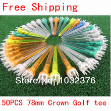 Free Shipping 50Pcs 78mm Mixed Color Plastic Crown Golf TEES