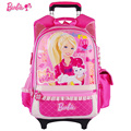 Barbie cartoon  trolley/wheels  school bag  with detachable children/kids Rolling Backpack  books bag for girls grade 1-3