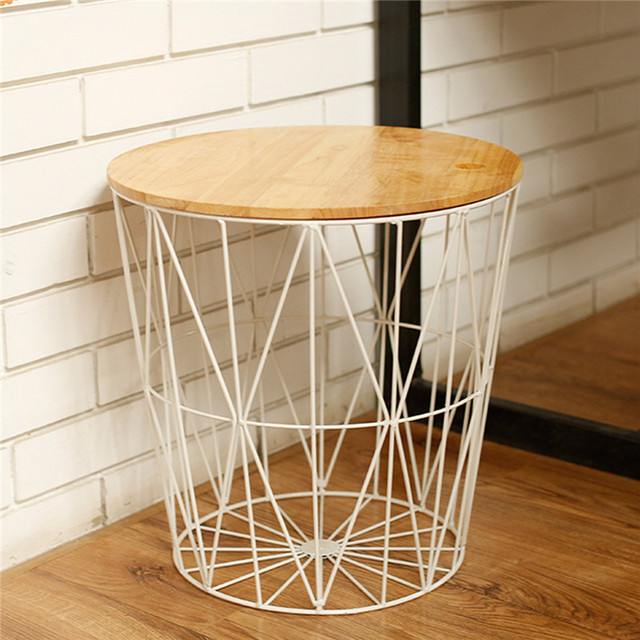 2 In 1 Metal Wire Basket With Wooden Lid Nordic Furniture Home Storage Baskets Clothing Organizer