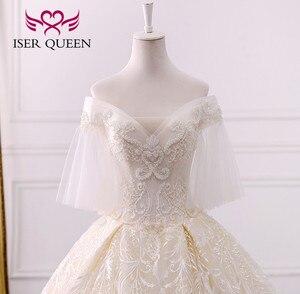 Image 4 - Di alta qualità di Lusso Dubai Abito Da Sposa 2020 Abito di Sfera Treno Lungo Del Manicotto Del Chiarore Perle Ricamo Abito Da Sposa Vestito Da Sposa WX0121