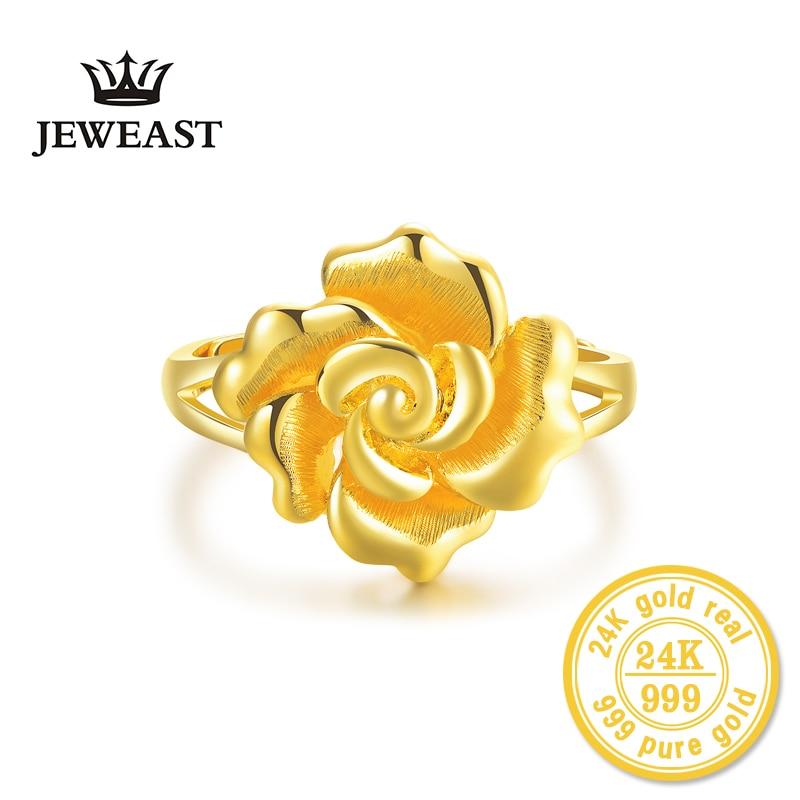 HMSS 24K or anneaux Roses femelle fleur pur solide réel AU 999 bijoux fins 2019New offre spéciale à la mode bon Nice Top femmes fille-in Anneaux from Bijoux et Accessoires    2