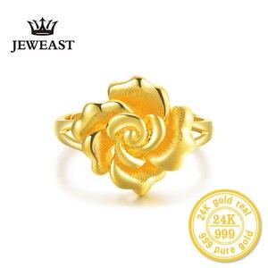 Image 2 - Женское кольцо с розами HMSS, однотонное золотистое кольцо с натуральным цветком AU 999, 2020