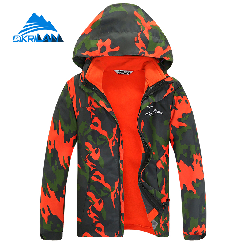 New Arrive 3in1 Camo Kids Winter Outdoor Leisure Sports Hiking Camping Jacket Boys&girls Ski Snowboard Windbreaker Children Coat