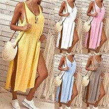 New Arrival Solid Color Deep V Split Vest Dress Evening Party Summer Beach Casual Long Sundress