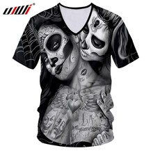UJWI 3D V-neck t shirt Woman Men Skull Clown tshirt Print Peking Opera Summer Tops Casual Tees Short Sleeve Streetwear Halloween(China)