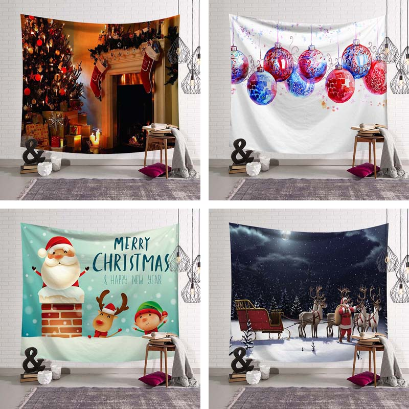 Christmas Eve Socks Colorful Lights Pattern Wall Hanging Decoration Tapestry Happy New Year XMAS Party Ornamental Table Blanket